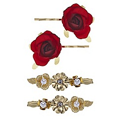 Red Herring - Flower and pearl hair slides