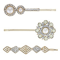 Red Herring - Gold vintage effect pearl hair slide pack