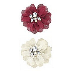 Red Herring - Red and cream crystal flower brooch set