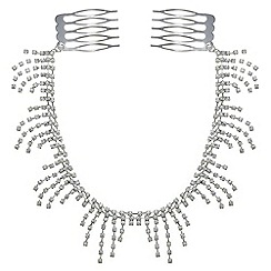 Red Herring - Silver diamante droplet hair chain