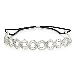 Red Herring - Silver crystal diamante weave headband
