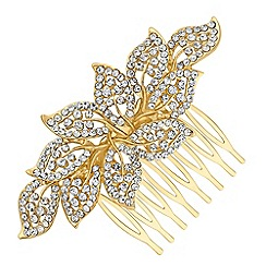 Red Herring - Gold crystal leaf hair comb