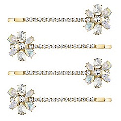 Red Herring - Aurora borealis crystal hair slide set