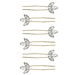 Red Herring - Gold crystal hair pin set