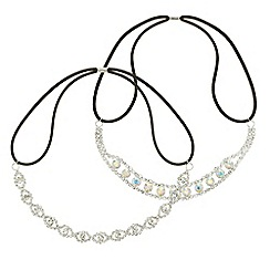 Red Herring - Silver crystal stretch headband set