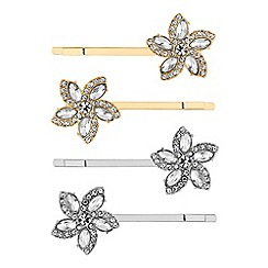 Red Herring - Crystal flower hair slide set