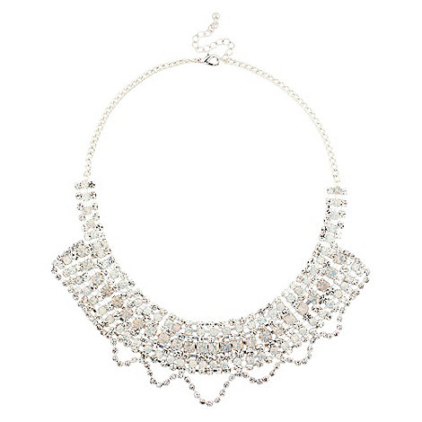 Red Herring - Diamante crystal wave bib necklace