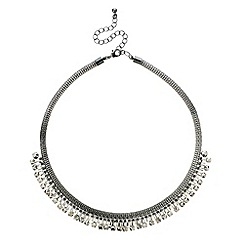 Red Herring - Grey crystal and mesh chain necklace