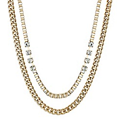 Red Herring - Double row crystal chunky chain necklace