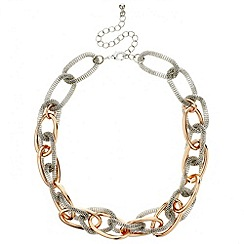 Red Herring - Silver mesh and rose gold link necklace