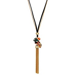 Red Herring - Heart filigree and multi charm tassel necklace