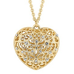 Red Herring - Long puffed heart filigree necklace