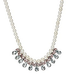 Red Herring - Pearl and crystal teardrop necklace