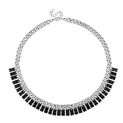 Red Herring - Baguette crystal and chain collar necklace