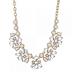Red Herring - Statement pearl and crystal cluster drop necklace