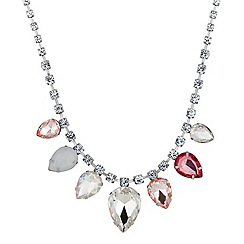 Red Herring - Graduated teardrop pink crystal necklace