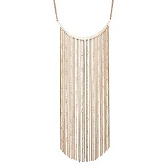 Red Herring - Statement white bead and chain tassel necklace