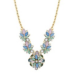 Red Herring - Pastel mixed cluster drop necklace