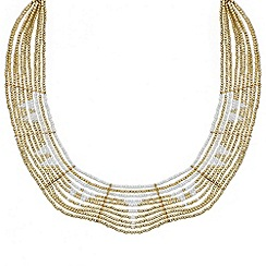 Red Herring - Gold seed bead curved collar necklace