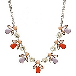 Red Herring - Crystal rose and cluster teardrop necklace