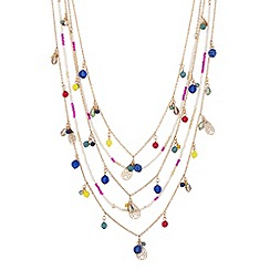 Red Herring - Mixed bead and charm drop multirow necklace