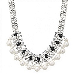 Red Herring - Online exclusive jet peardrop and pearl necklace