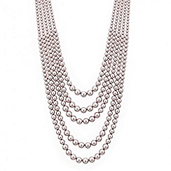 Red Herring - Pink pearl multi row necklace