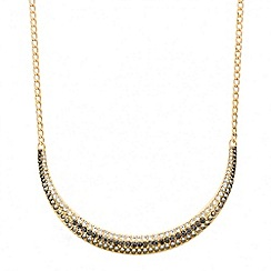 Red Herring - Crystal embellished gold bar necklace