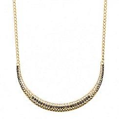 Red Herring - Crystal embellished gold bar necklace
