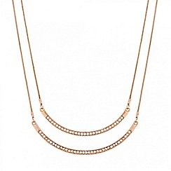 Red Herring - Crystal encased rose gold double bar necklace