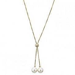 Red Herring - Double pearl drop gold lariat necklace