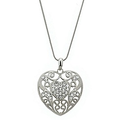 Red Herring - Crystal encased filigree heart long necklace