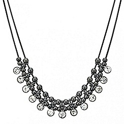 Red Herring - Round crystal hematite drop necklace