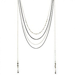 Red Herring - Mixed metal multi row tassel drop necklace