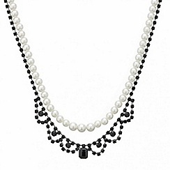 Red Herring - Jet diamante and pearl double row necklace