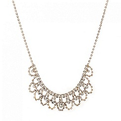 Red Herring - Diamante crystal looped bib necklace
