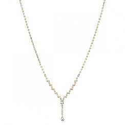 Red Herring - Diamante crystal back chain gold drop necklace