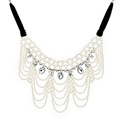 Red Herring - Pearl and crystal teardrop Victorian style necklace
