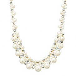 Red Herring - Pearl and crystal multi row necklace