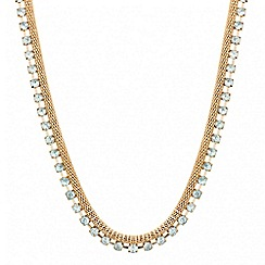 Red Herring - Crystal and gold mesh double row necklace