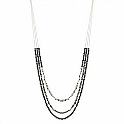 Red Herring - Jet bead triple row long necklace