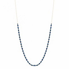 Red Herring - Fine blue bead long tassel necklace