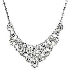 Red Herring - Round crystal and diamante surround bib necklace