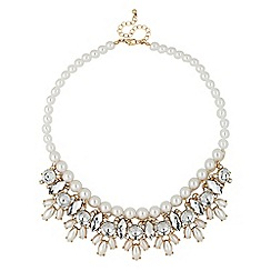 Red Herring - Pearl and crystal navette drop necklace