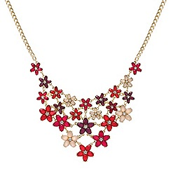 Red Herring - Pink tonal statement flower crystal necklace