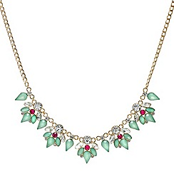 Red Herring - Green and pink crystal cluster necklace