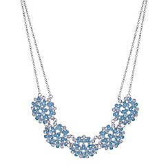Red Herring - Blue flower and crystal cluster necklace