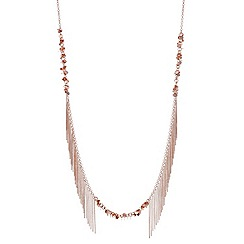 Red Herring - Rose gold disc long necklace