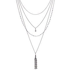 Red Herring - Multi row facet bead long tassel necklace