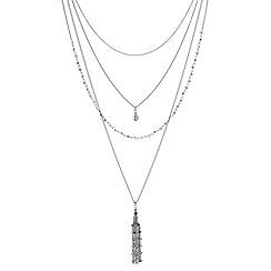 Red Herring - Multi row facet bead long tassel necklace